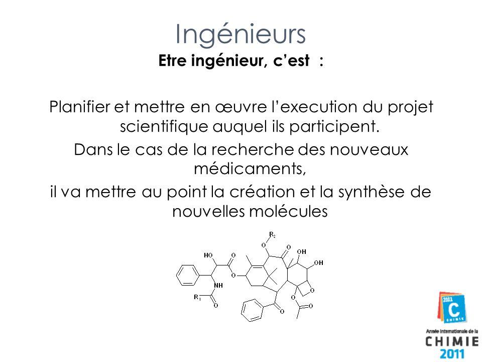 Ingénieurs Etre ingénieur, cest : Planifier et mettre en œuvre lexecution du projet scientifique auquel ils participent. Dans le cas de la recherche d