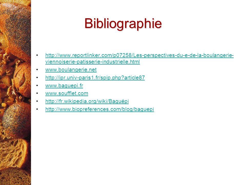 Bibliographie http://www.reportlinker.com/p07258/Les-perspectives-du-e-de-la-boulangerie- viennoiserie-patisserie-industrielle.htmlhttp://www.reportli