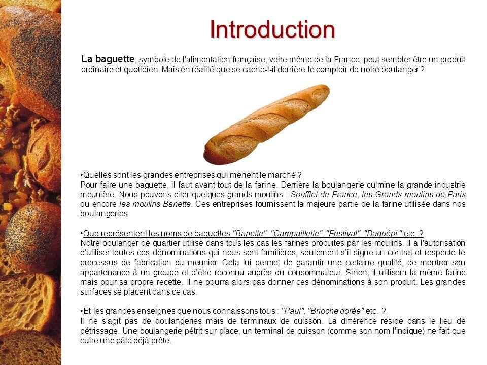 Introduction La baguette, symbole de l'alimentation française, voire même de la France, peut sembler être un produit ordinaire et quotidien. Mais en r