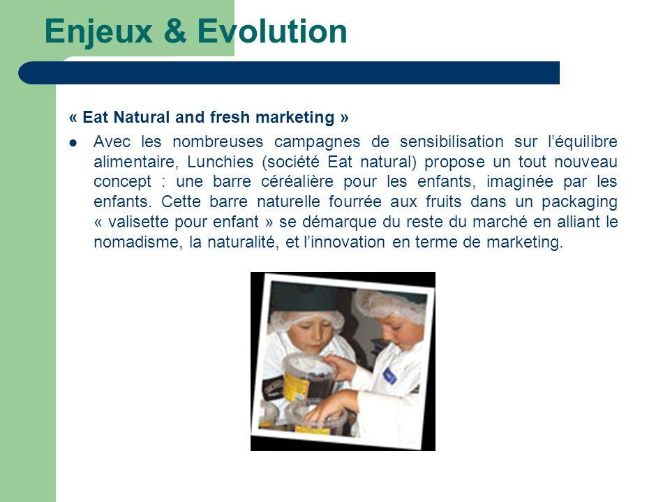 Enjeux & Evolution « Eat Natural and fresh marketing » Avec les nombreuses campagnes de sensibilisation sur léquilibre alimentaire, Lunchies (société