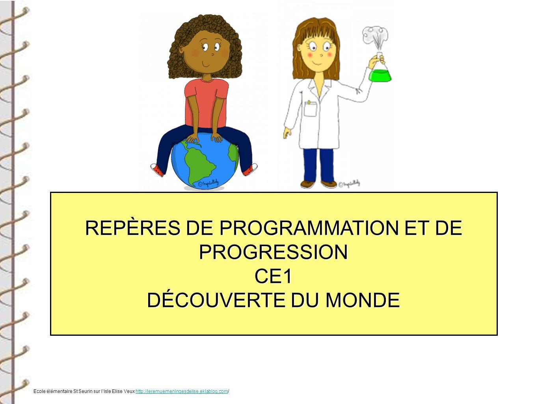 REPÈRES DE PROGRAMMATION ET DE PROGRESSION CE1 DÉCOUVERTE DU MONDE Ecole élémentaire St Seurin sur lIsle Elise Veux http://leremuemeningesdelise.eklab