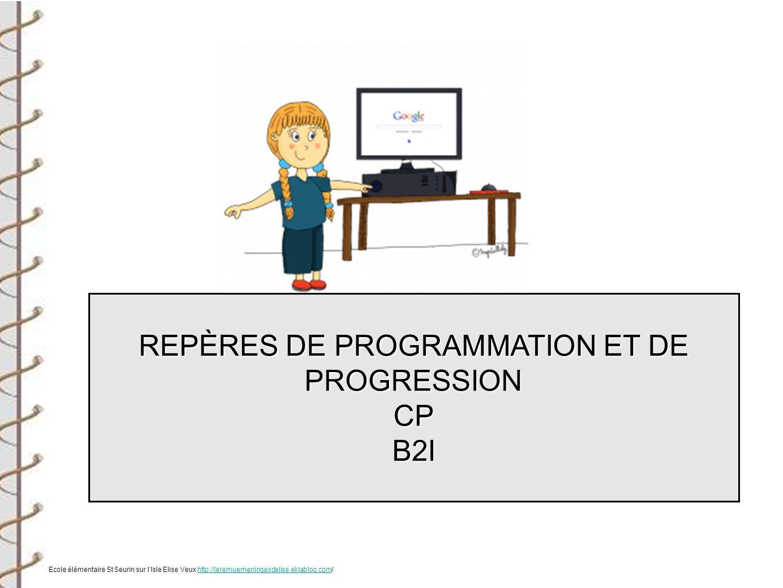 REPÈRES DE PROGRAMMATION ET DE PROGRESSION CPB2I Ecole élémentaire St Seurin sur lIsle Elise Veux http://leremuemeningesdelise.eklablog.com/http://ler
