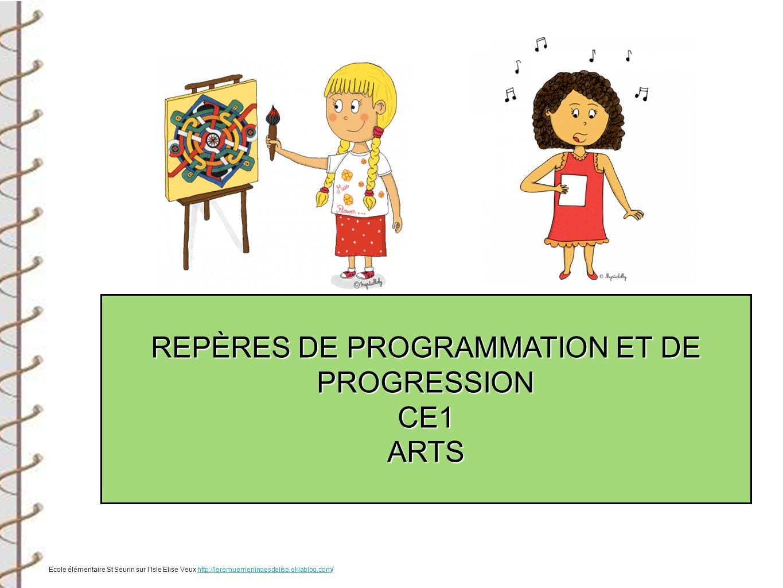 REPÈRES DE PROGRAMMATION ET DE PROGRESSION CE1ARTS Ecole élémentaire St Seurin sur lIsle Elise Veux http://leremuemeningesdelise.eklablog.com/http://l