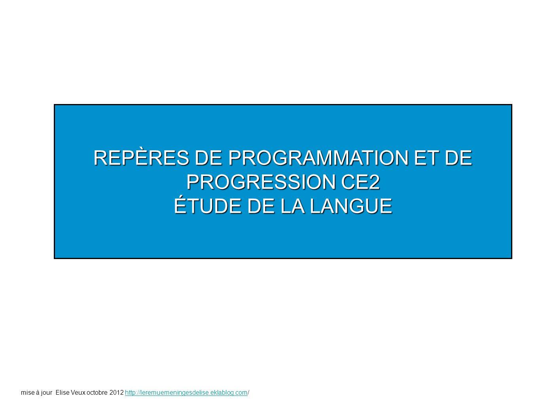 REPÈRES DE PROGRAMMATION ET DE PROGRESSION CE2 ÉTUDE DE LA LANGUE mise à jour Elise Veux octobre 2012 http://leremuemeningesdelise.eklablog.com/http:/