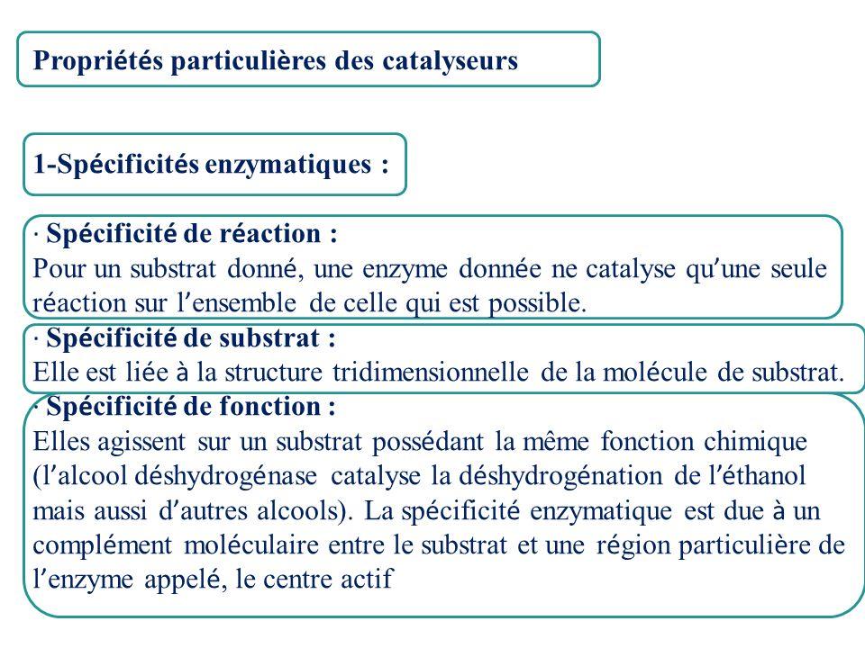 Propri é t é s particuli è res des catalyseurs 1-Sp é cificit é s enzymatiques : · Sp é cificit é de r é action : Pour un substrat donn é, une enzyme