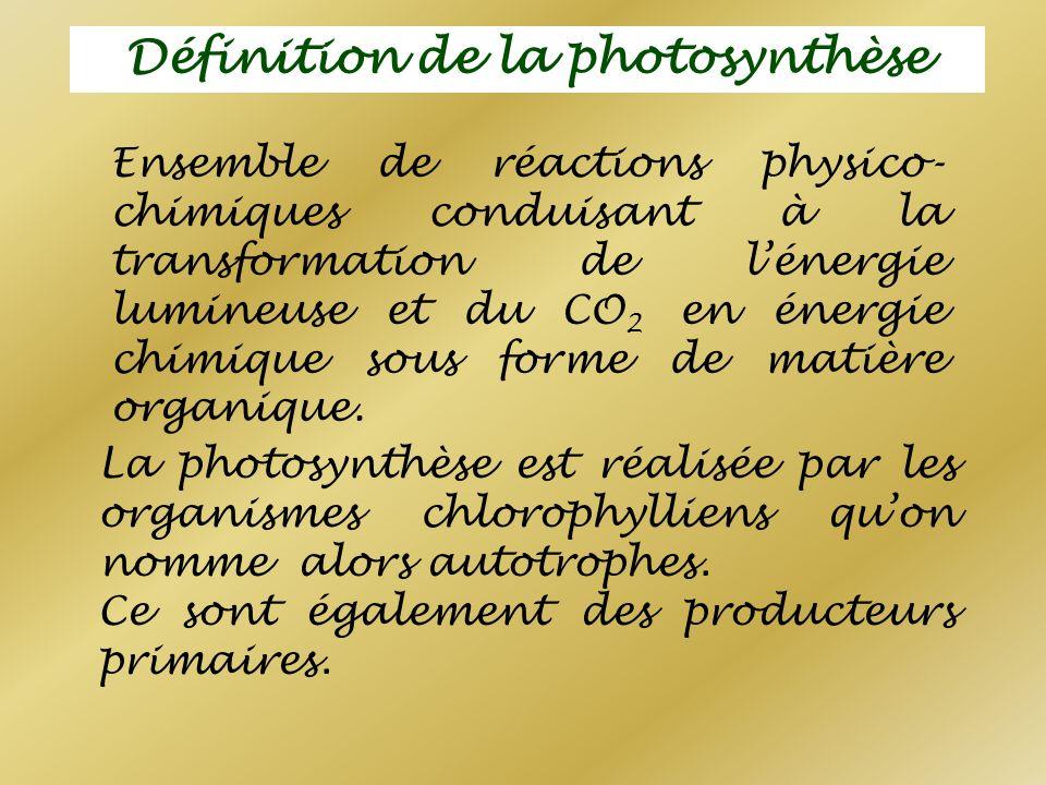 Définition de la photosynthèse Ensemble de réactions physico- chimiques conduisant à la transformation de lénergie lumineuse et du CO 2 en énergie chi