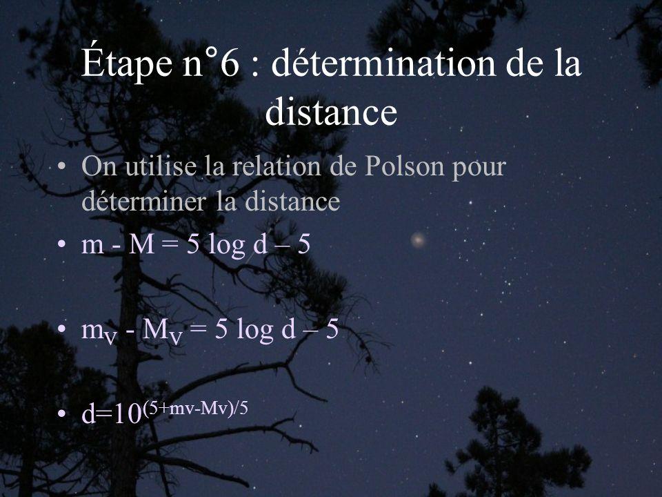 Étape n°6 : détermination de la distance On utilise la relation de Polson pour déterminer la distance m - M = 5 log d – 5 m V - M V = 5 log d – 5 d=10