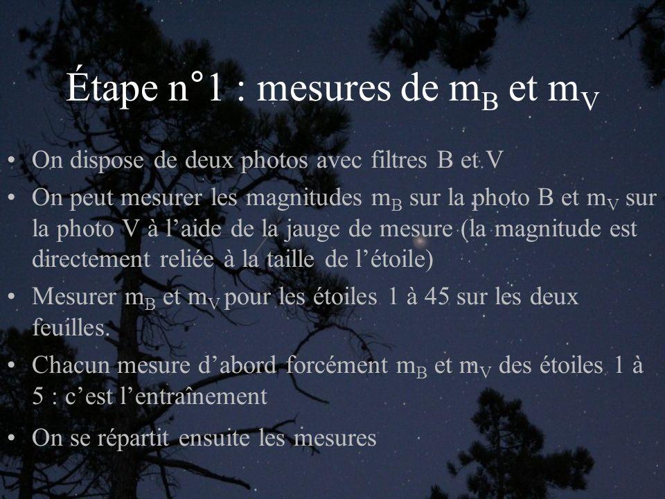 Étape n°1 : mesures de m B et m V On dispose de deux photos avec filtres B et V On peut mesurer les magnitudes m B sur la photo B et m V sur la photo