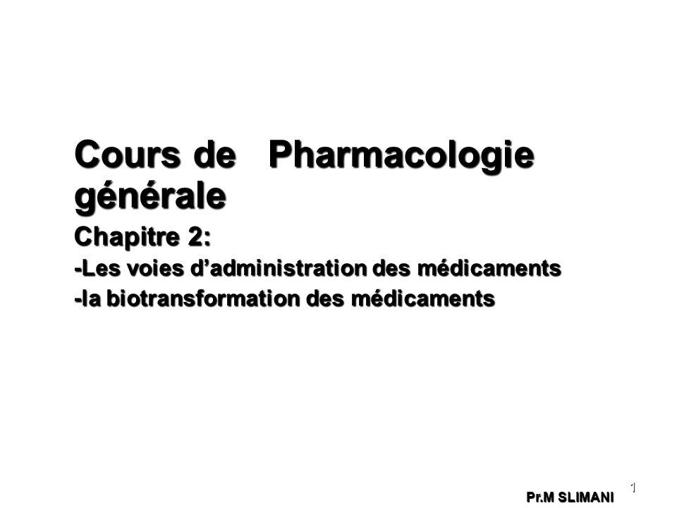 Cours de Pharmacologie générale Chapitre 2: -Les voies dadministration des médicaments -la biotransformation des médicaments 1 Pr.M SLIMANI