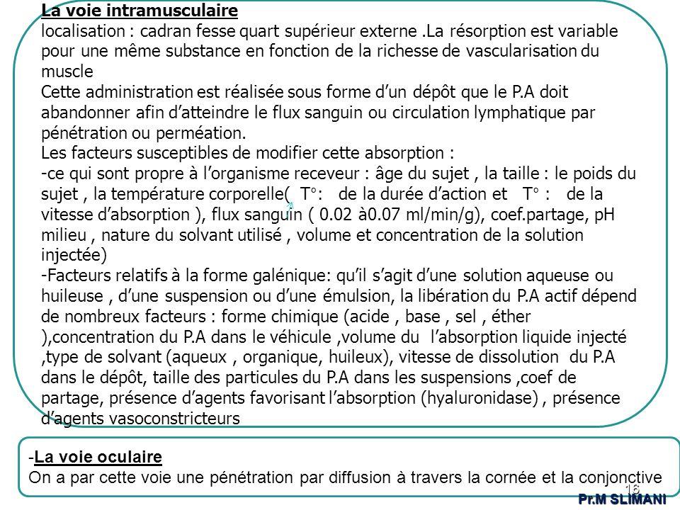 -.-. La voie intramusculaire localisation : cadran fesse quart supérieur externe.La résorption est variable pour une même substance en fonction de la
