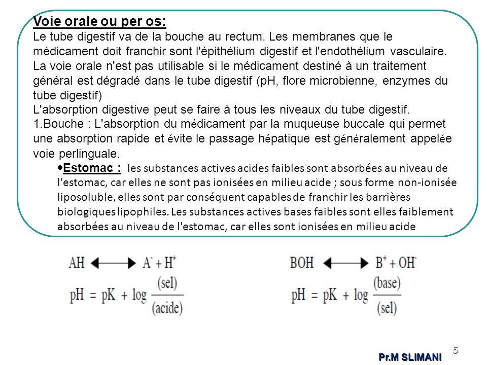 En cas de différence de pH entre les deux côtés de la barrière lipidique, le passage du médicament est favorisé dans le sens du milieu acide vers le milieu alcalin pour un acide faible et en sens inverse pour une base faible 6 Pr.M SLIMANI