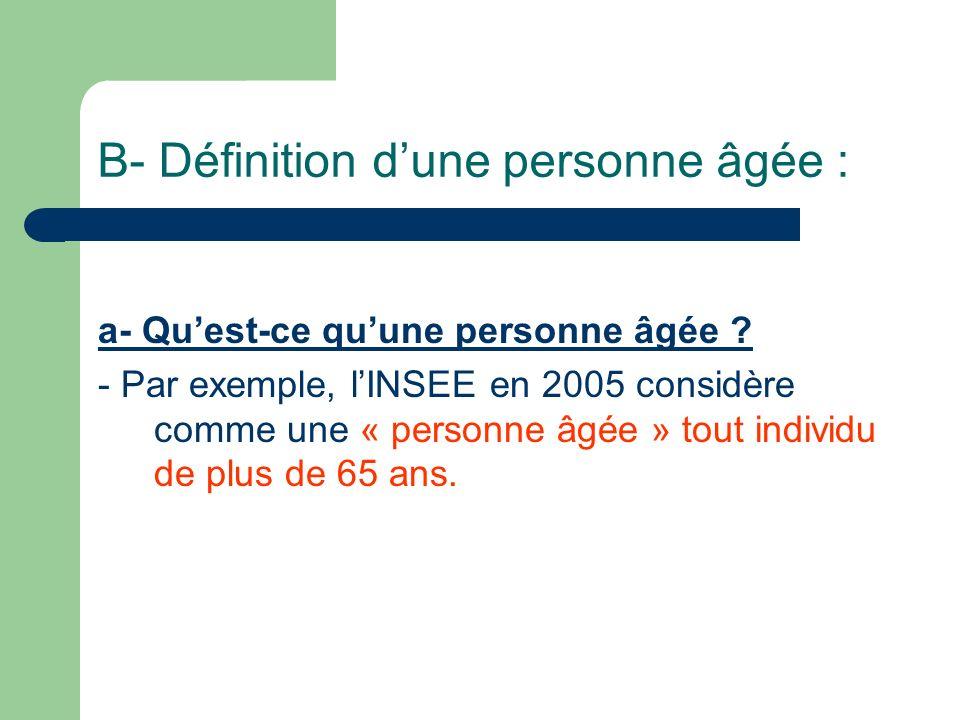 B- Définition dune personne âgée : a- Quest-ce quune personne âgée .