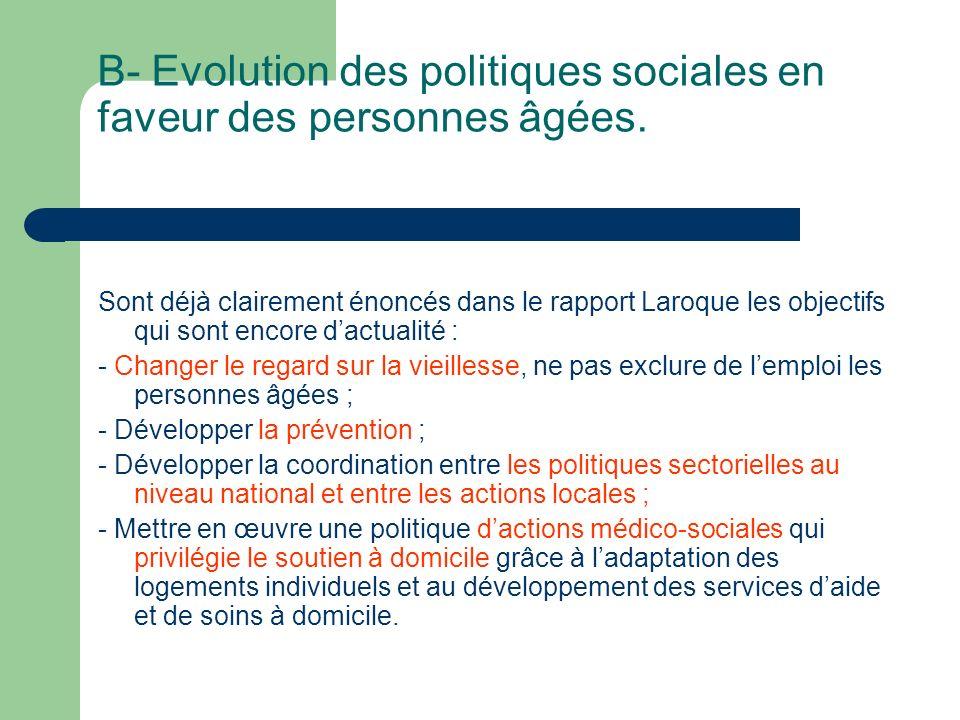 B- Evolution des politiques sociales en faveur des personnes âgées.