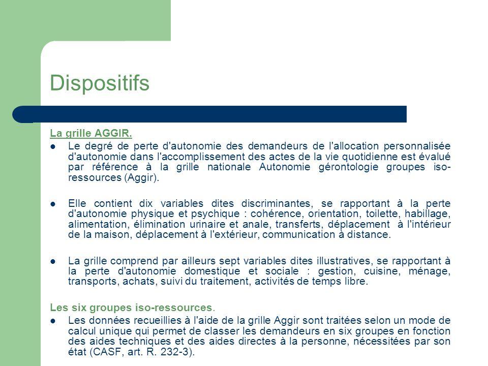 A – Les Dispositifs Evaluation de la dépendance - La grille Aggir (autonomie gérontologique groupe iso-ressources).