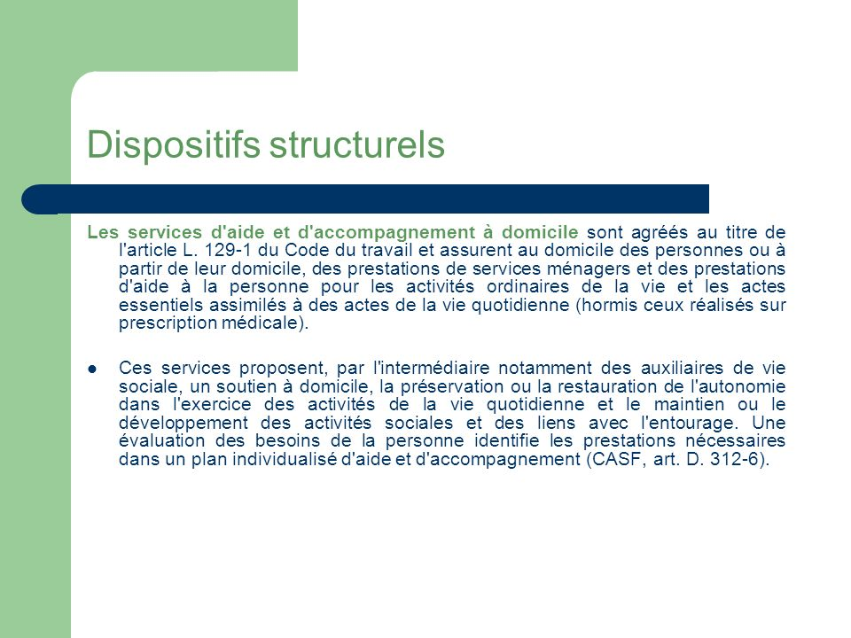 Dispositifs structurels Les petits établissements.