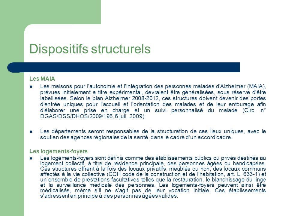 Dispositifs structurels Les structures d accompagnement et de répit – Ces structures, lancées par le programme pluriannuel 2004-2007 sont ouvertes aux personnes atteintes de la maladie d Alzheimer sans exclusivité.