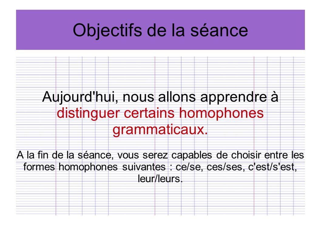 Objectifs de la séance Aujourd'hui, nous allons apprendre à distinguer certains homophones grammaticaux. A la fin de la séance, vous serez capables de