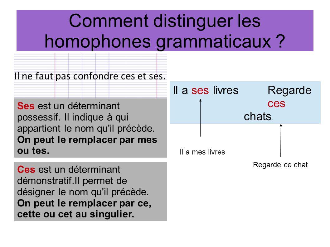 Comment distinguer les homophones grammaticaux ? Il ne faut pas confondre ces et ses. Ses est un déterminant possessif. Il indique à qui appartient le