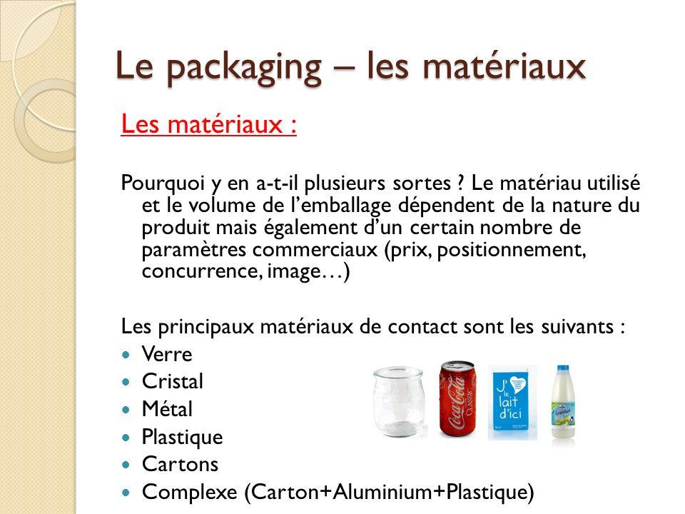 Le packaging – les matériaux Les matériaux : Pourquoi y en a-t-il plusieurs sortes .