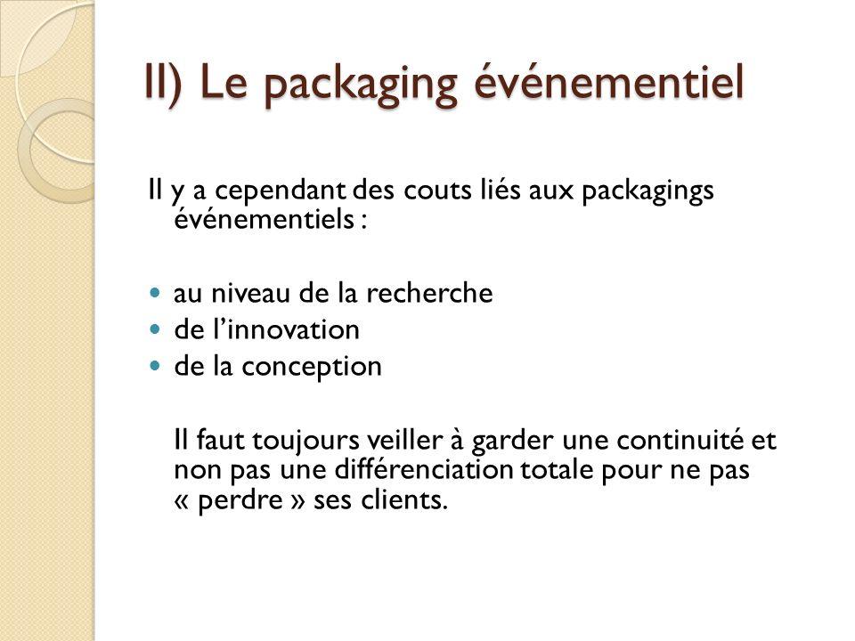 II) Le packaging événementiel Il y a cependant des couts liés aux packagings événementiels : au niveau de la recherche de linnovation de la conception Il faut toujours veiller à garder une continuité et non pas une différenciation totale pour ne pas « perdre » ses clients.