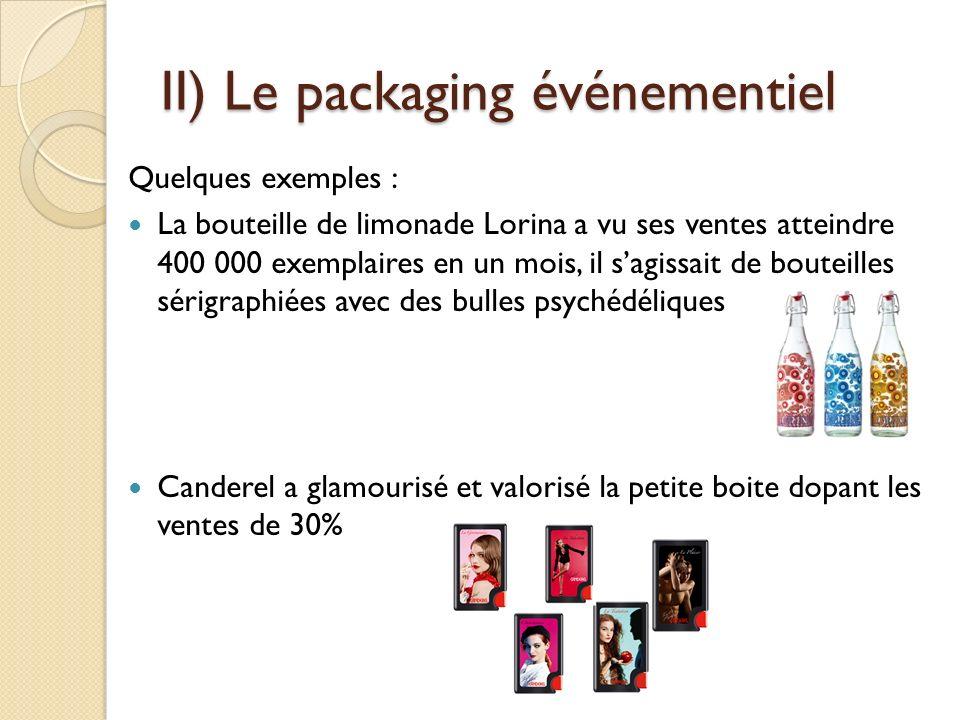 II) Le packaging événementiel Quelques exemples : La bouteille de limonade Lorina a vu ses ventes atteindre 400 000 exemplaires en un mois, il sagissait de bouteilles sérigraphiées avec des bulles psychédéliques Canderel a glamourisé et valorisé la petite boite dopant les ventes de 30%