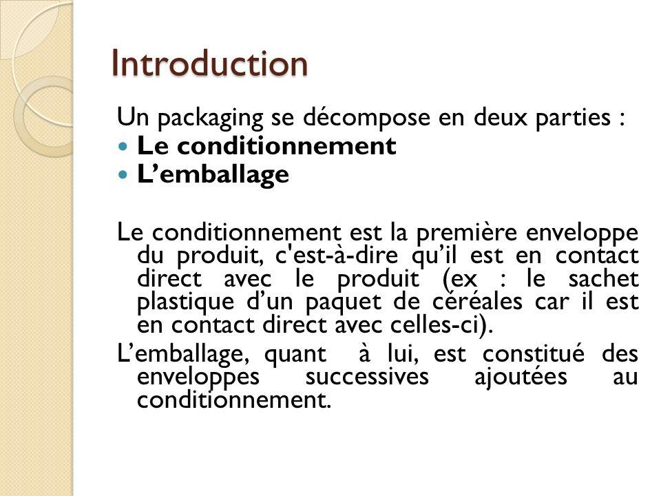Introduction Un packaging se décompose en deux parties : Le conditionnement Lemballage Le conditionnement est la première enveloppe du produit, c est-à-dire quil est en contact direct avec le produit (ex : le sachet plastique dun paquet de céréales car il est en contact direct avec celles-ci).