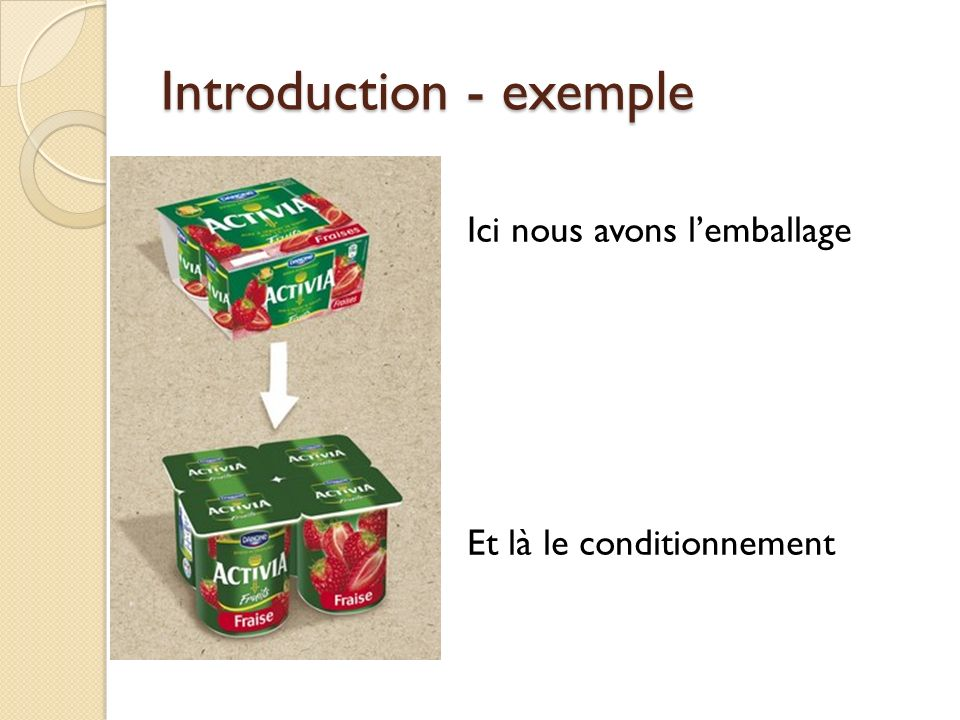 Introduction - exemple Ici nous avons lemballage Et là le conditionnement