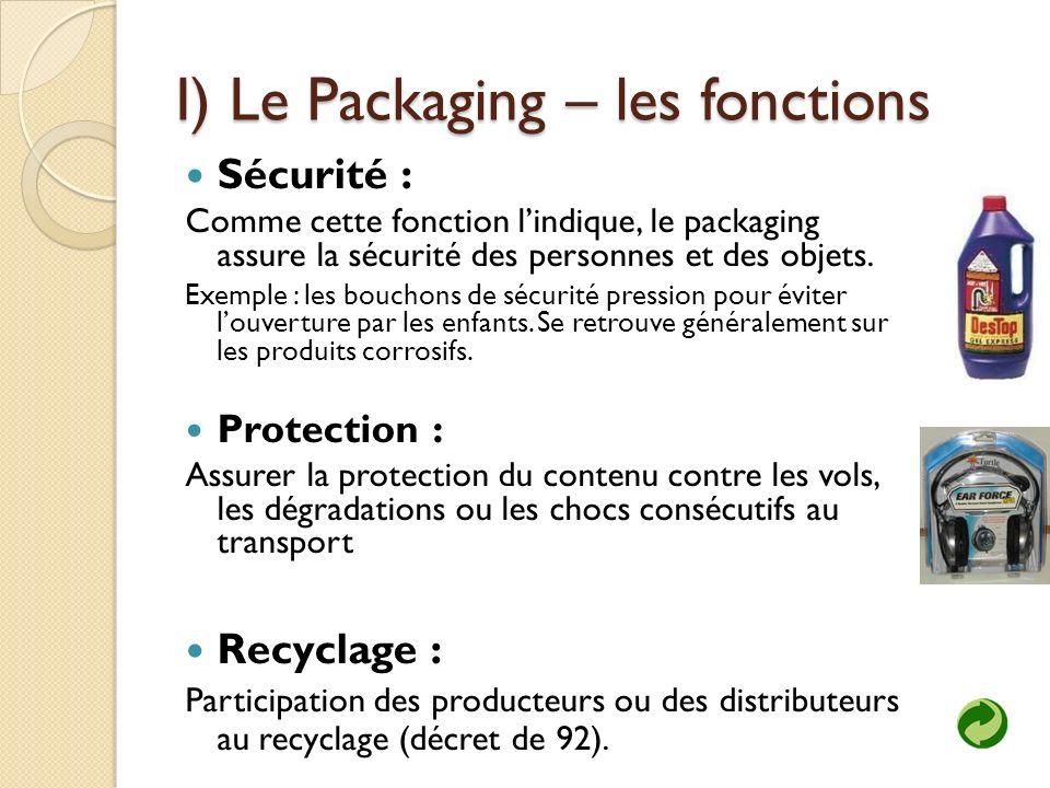 I) Le Packaging – les fonctions Sécurité : Comme cette fonction lindique, le packaging assure la sécurité des personnes et des objets.