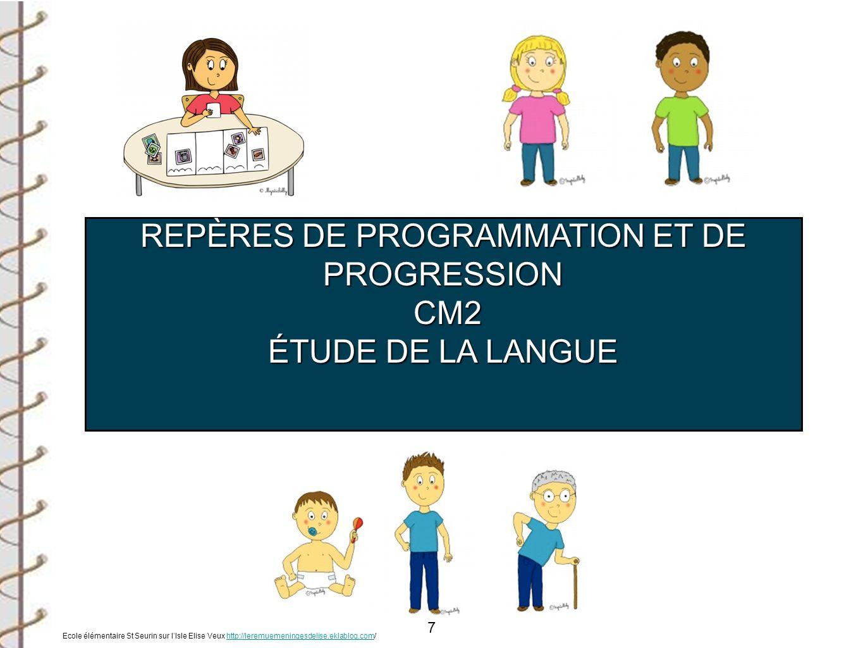 7 REPÈRES DE PROGRAMMATION ET DE PROGRESSION CM2 CM2 ÉTUDE DE LA LANGUE Ecole élémentaire St Seurin sur lIsle Elise Veux http://leremuemeningesdelise.