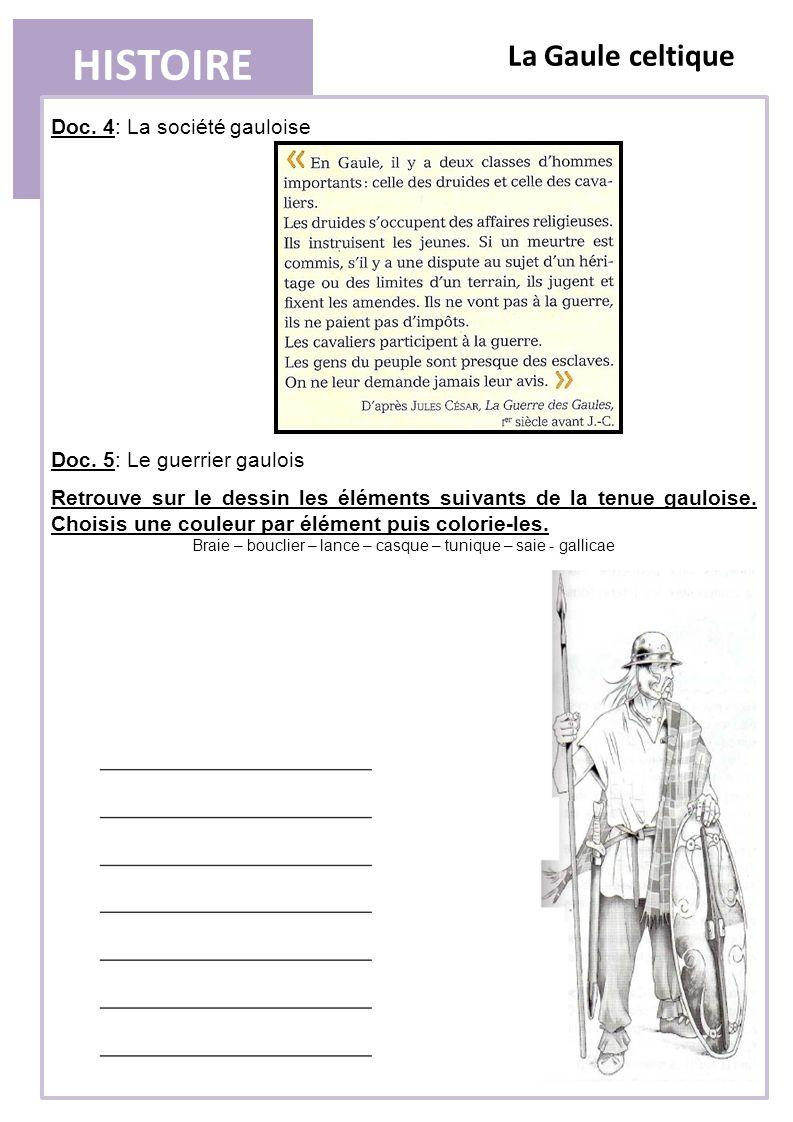 HISTOIRE La Gaule celtique 4) LA SOCIETE GAULOISE Les Gaulois vivent dans des villages fortifiés et pratiquent lagriculture et lartisanat.