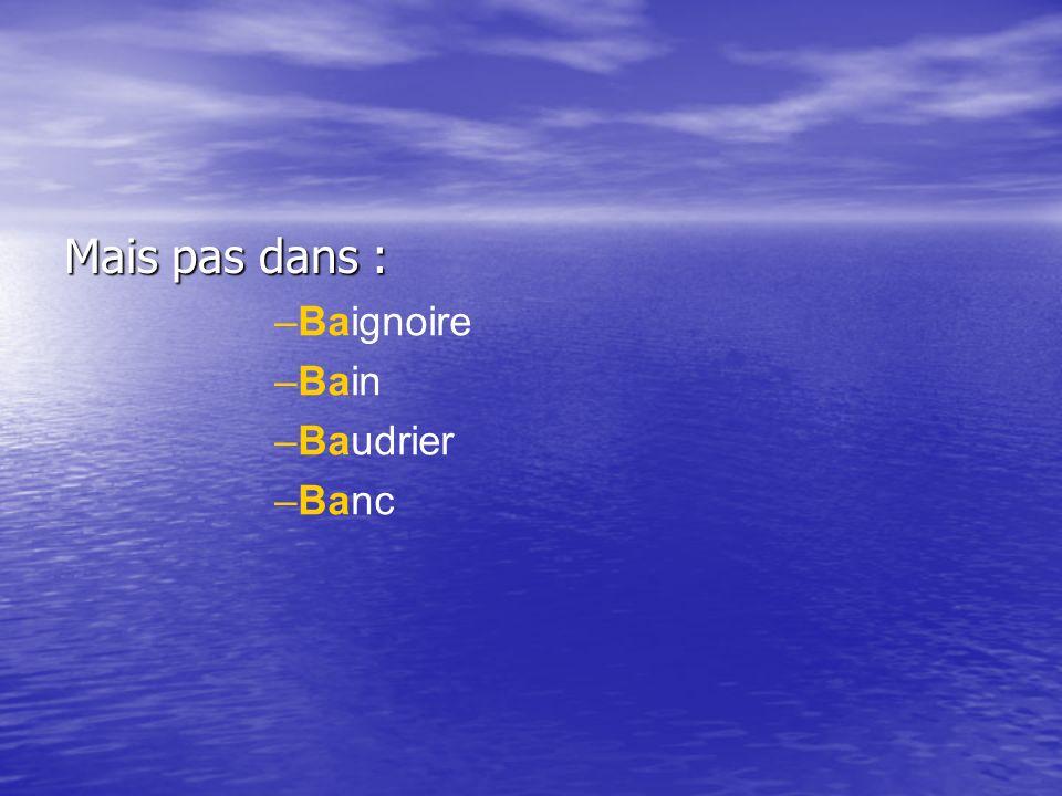 Mais pas dans : –Baignoire –Bain –Baudrier –Banc