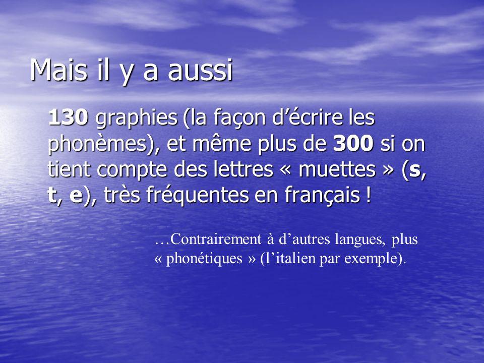 Mais il y a aussi 130 graphies (la façon décrire les phonèmes), et même plus de 300 si on tient compte des lettres « muettes » (s, t, e), très fréquentes en français .