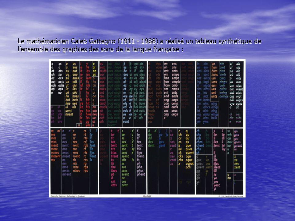 Le mathématicien Caleb Gattegno (1911 - 1988) a réalisé un tableau synthétique de lensemble des graphies des sons de la langue française :