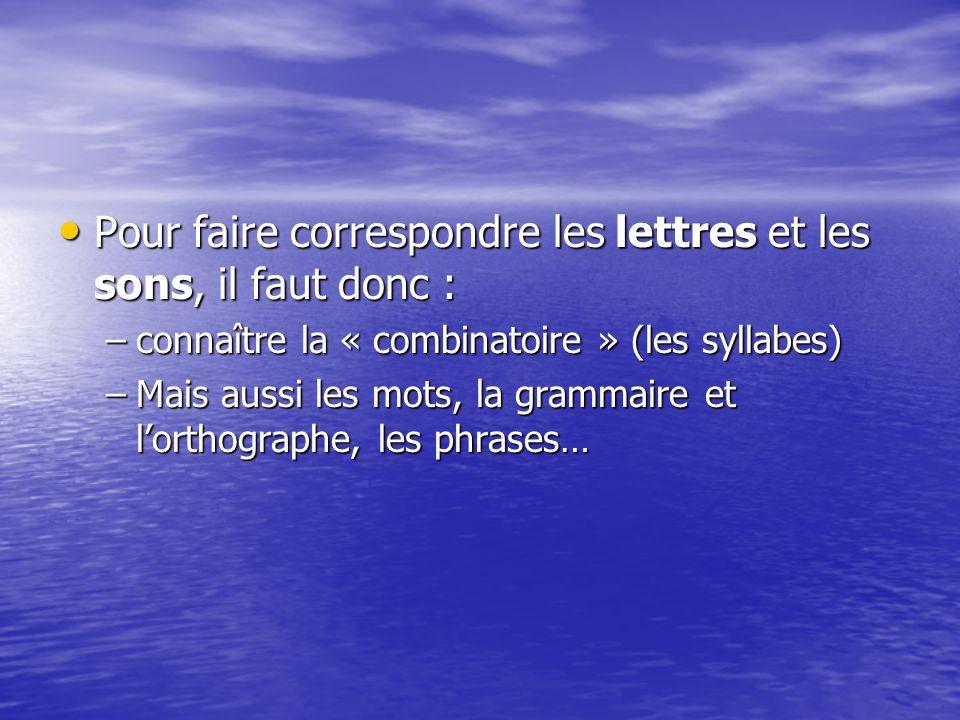 Pour faire correspondre les lettres et les sons, il faut donc : Pour faire correspondre les lettres et les sons, il faut donc : –connaître la « combinatoire » (les syllabes) –Mais aussi les mots, la grammaire et lorthographe, les phrases…