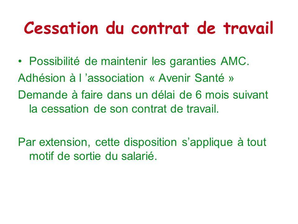 Cessation du contrat de travail Possibilité de maintenir les garanties AMC. Adhésion à l association « Avenir Santé » Demande à faire dans un délai de