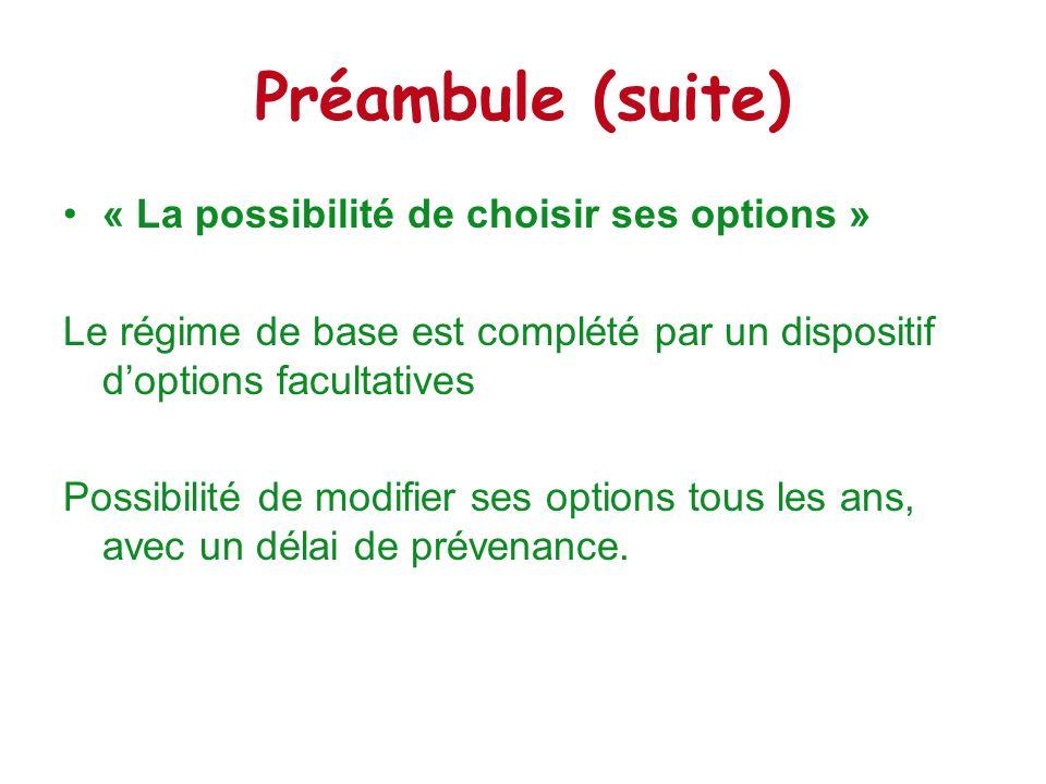 Préambule (suite) « La possibilité de choisir ses options » Le régime de base est complété par un dispositif doptions facultatives Possibilité de modi