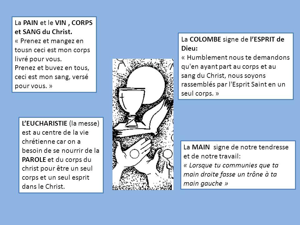 La COLOMBE signe de lESPRIT de Dieu: « Humblement nous te demandons qu'en ayant part au corps et au sang du Christ, nous soyons rassemblés par l'Espri