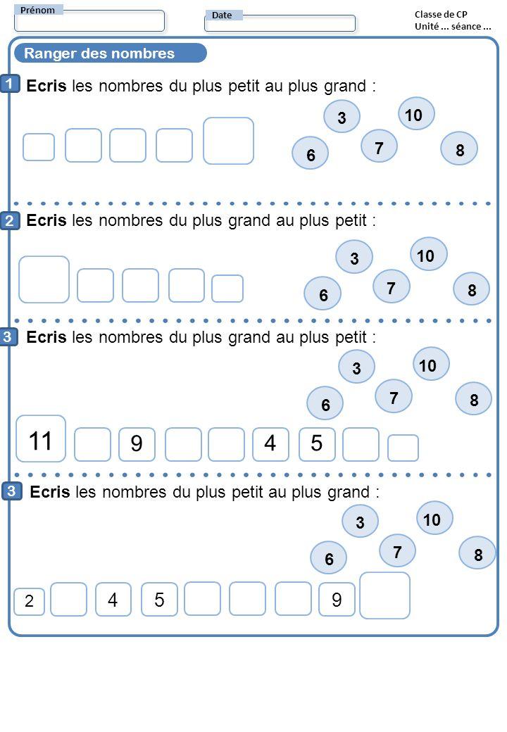 Ranger des nombres Ecris les nombres du plus petit au plus grand : 1 2 Ecris les nombres du plus grand au plus petit : Prénom Date Classe de CP Unité.