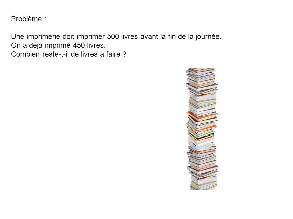 Problème : Une imprimerie doit imprimer 500 livres avant la fin de la journée. On a déjà imprimé 450 livres. Combien reste-t-il de livres à faire ?