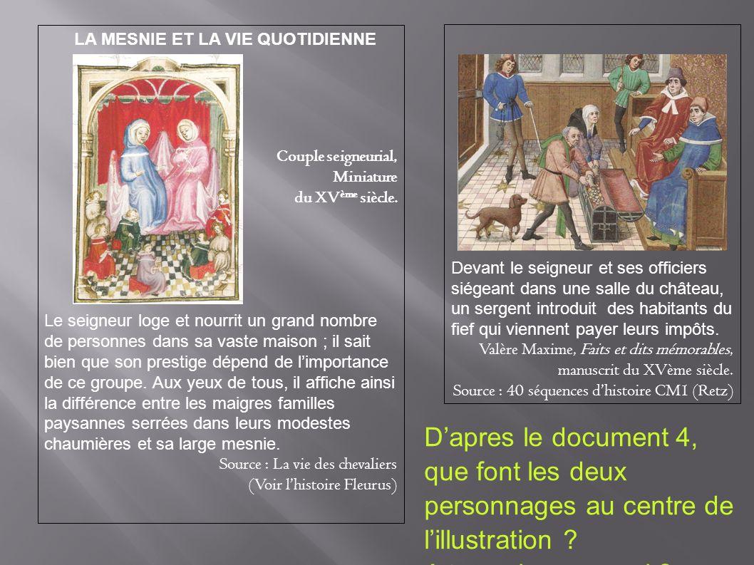 LA MESNIE ET LA VIE QUOTIDIENNE Couple seigneurial, Miniature du XV ème siècle. Le seigneur loge et nourrit un grand nombre de personnes dans sa vaste