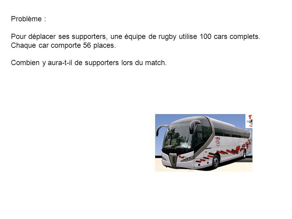 Problème : Pour déplacer ses supporters, une équipe de rugby utilise 100 cars complets. Chaque car comporte 56 places. Combien y aura-t-il de supporte