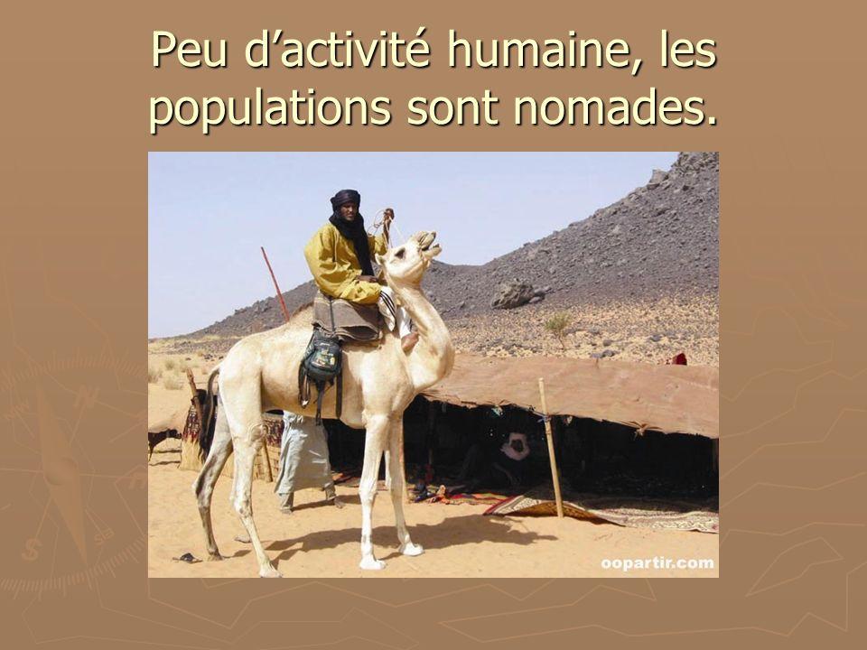 Peu dactivité humaine, les populations sont nomades.