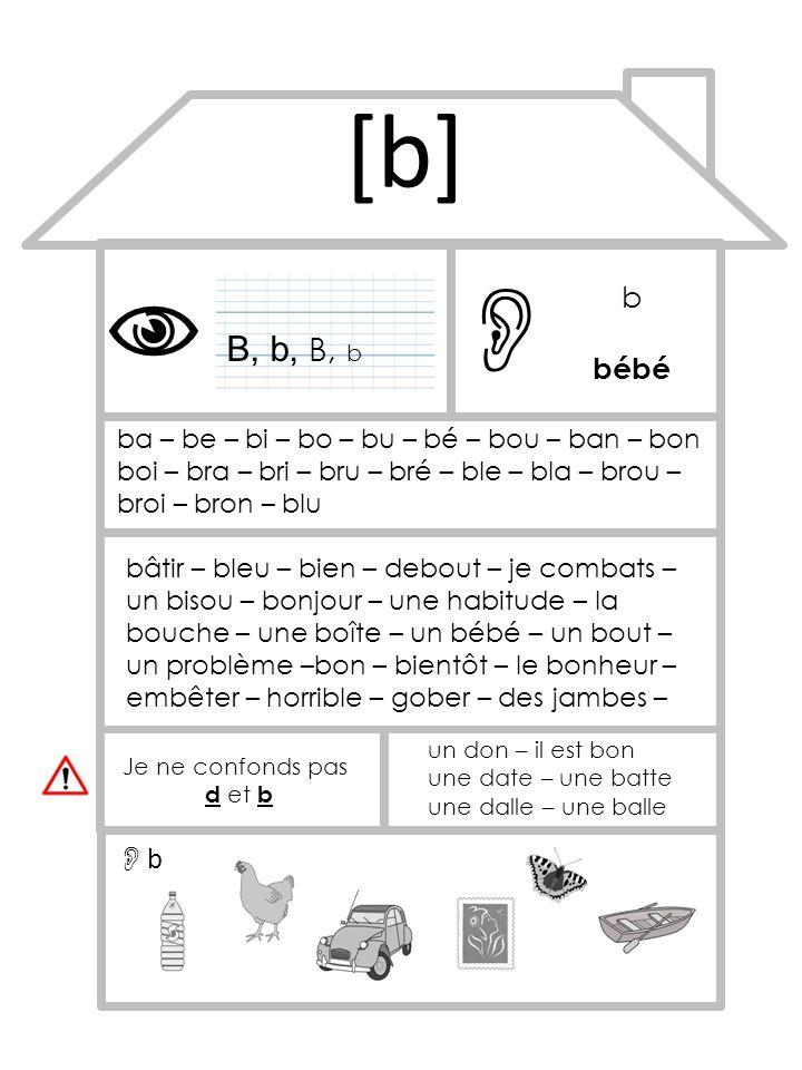 [b] B, b, B, b b bébé ba – be – bi – bo – bu – bé – bou – ban – bon boi – bra – bri – bru – bré – ble – bla – brou – broi – bron – blu bâtir – bleu –