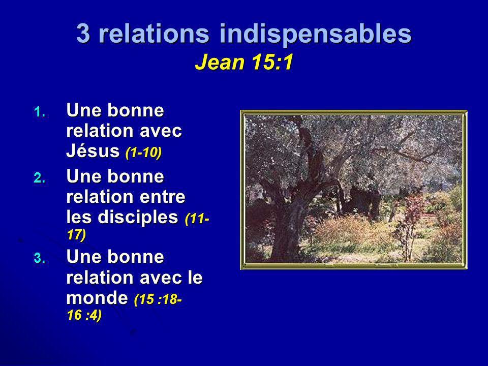 3 relations indispensables Jean 15:1 1. Une bonne relation avec Jésus (1-10) 2. Une bonne relation entre les disciples (11- 17) 3. Une bonne relation