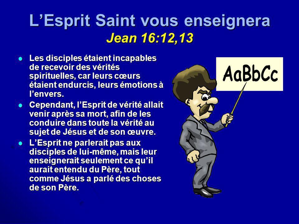 LEsprit Saint vous enseignera Jean 16:12,13 Les disciples étaient incapables de recevoir des vérités spirituelles, car leurs cœurs étaient endurcis, l