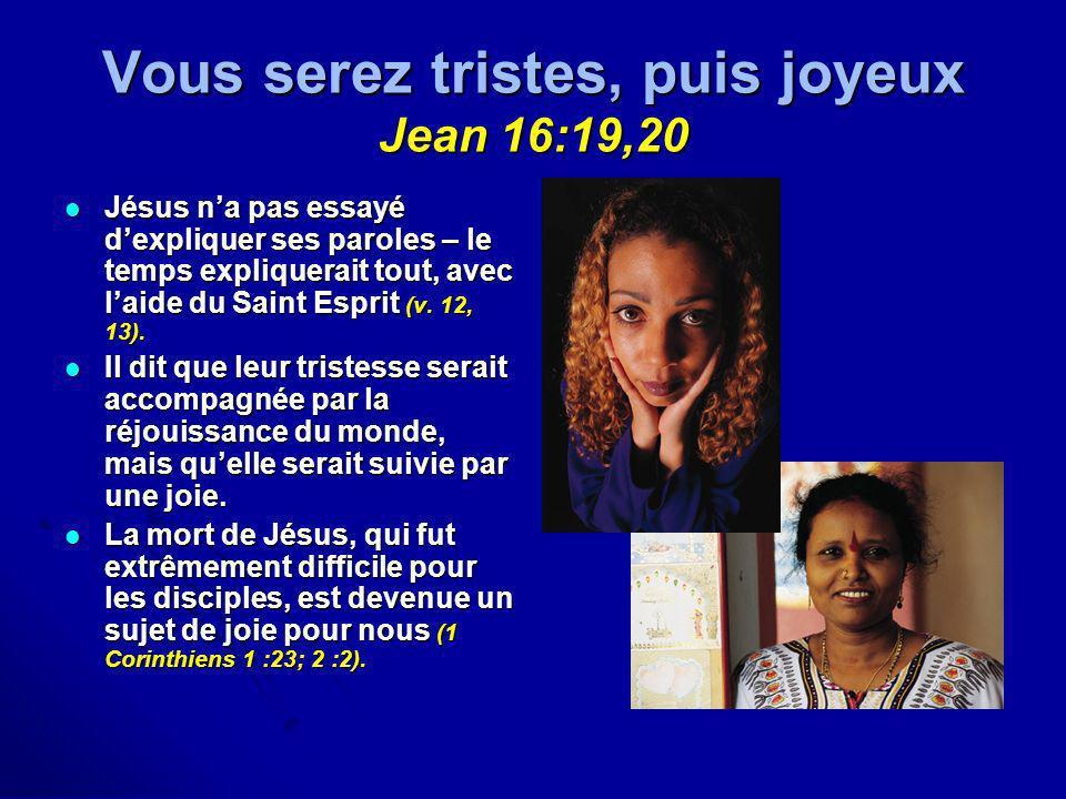 Vous serez tristes, puis joyeux Jean 16:19,20 Jésus na pas essayé dexpliquer ses paroles – le temps expliquerait tout, avec laide du Saint Esprit (v.