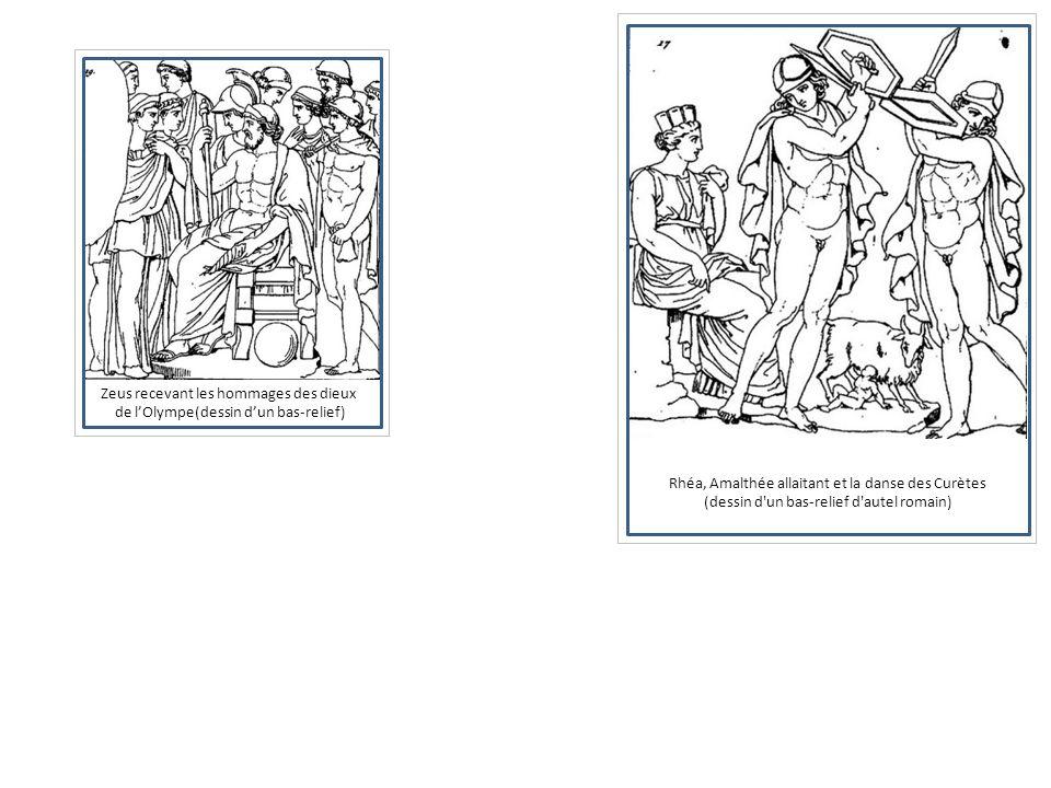 Rhéa, Amalthée allaitant et la danse des Curètes (dessin d'un bas-relief d'autel romain) Zeus recevant les hommages des dieux de lOlympe(dessin dun ba