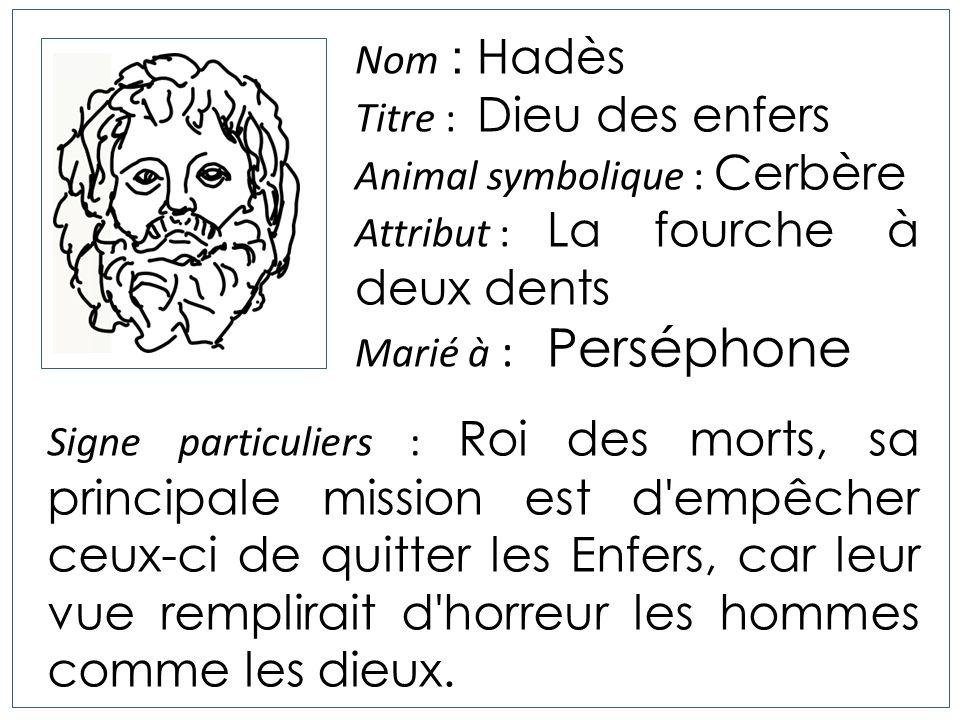 Nom : Hadès Titre : Dieu des enfers Animal symbolique : Cerbère Attribut : La fourche à deux dents Marié à : Perséphone Signe particuliers : Roi des m