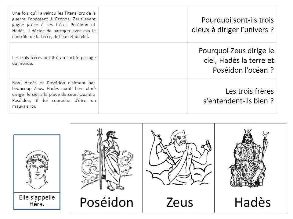 Une fois quil a vaincu les Titans lors de la guerre lopposant à Cronos, Zeus ayant gagné grâce à ses frères Poséidon et Hadès, il décide de partager a
