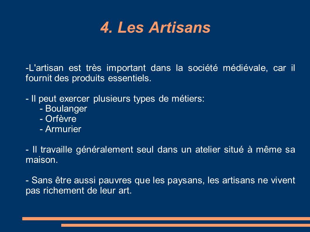 -L'artisan est très important dans la société médiévale, car il fournit des produits essentiels. - Il peut exercer plusieurs types de métiers: - Boula